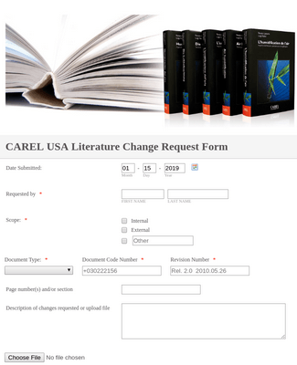 Literature Change Request Form