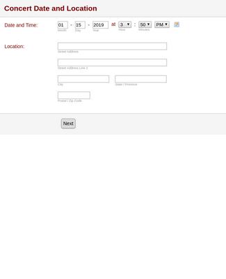 Concert Information Form