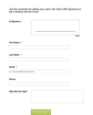Form Generator Petition Form Template Jotform
