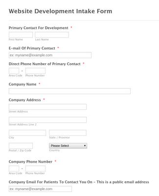 Dental Website Template Intake