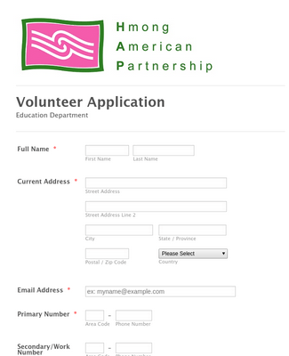 HAPU Sample Volunteer Form