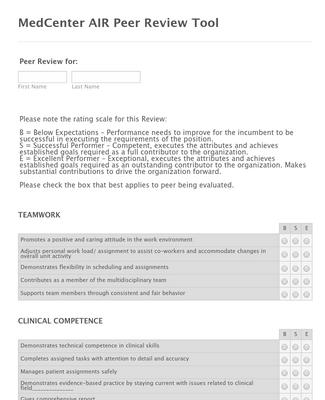 MedCenter AIR Peer Review Form