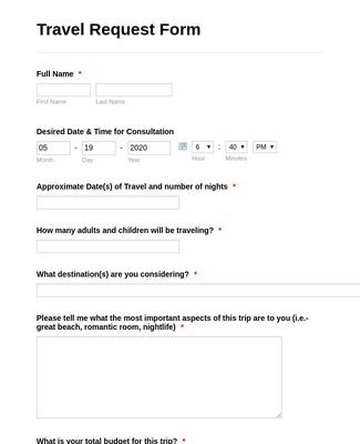 Travel Reservation Form