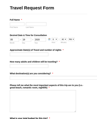 Travel Reservation Form