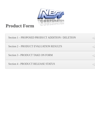 Product Master Form - Template