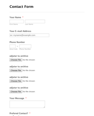 Contact Form with Upload Function