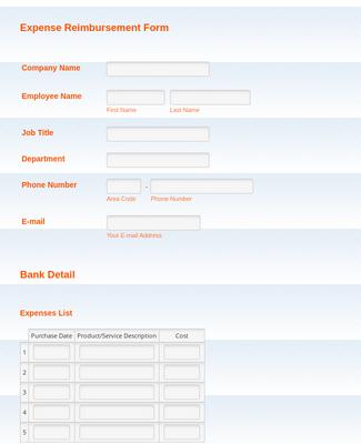 Expense Reimbursement Form Template Jotform