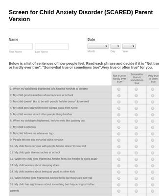 Scared Evaluation Form- Parent Version