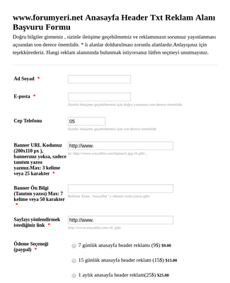 Ad Space Application Form - Turkish
