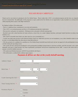 Sports Registration Form.