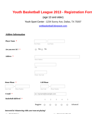 This is an image of Printable Registration Form Template Word within payment