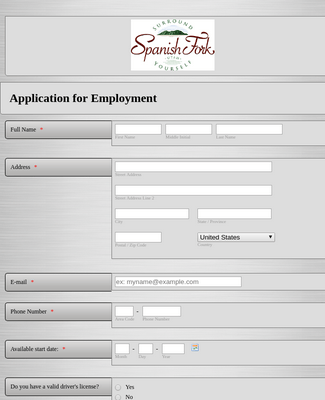 Municipality Job Application form