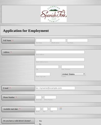 Municipality Job Application Form