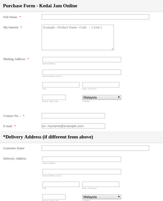 Online product purchase form
