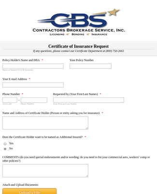 Insurance Certificate Request Form