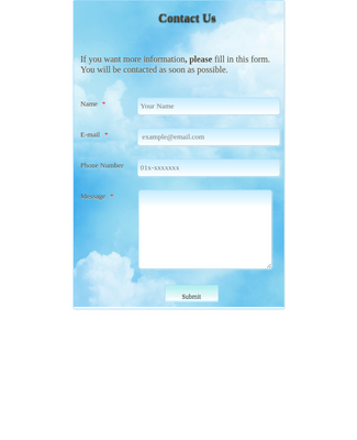 Contact Form  with Sky Theme 4
