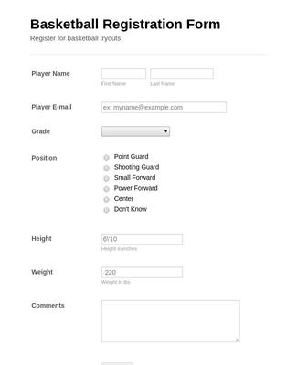 Basketball Tryout Registration Form