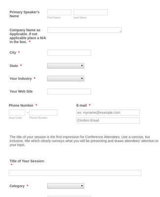 Conference Speaker Application form