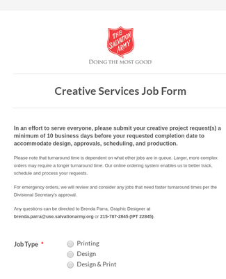 Creative Services Job Form