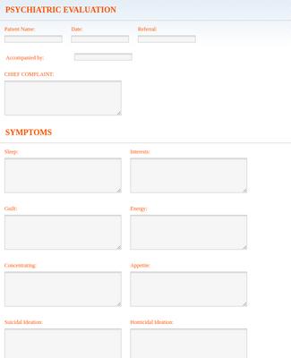 Psychiatric Evaluation Form Template Jotform