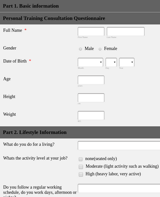 Personal Training Application Form