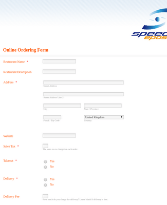 Restaurant online registration Form