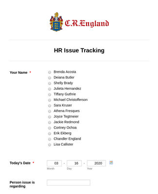 HR Issue Tracking Form