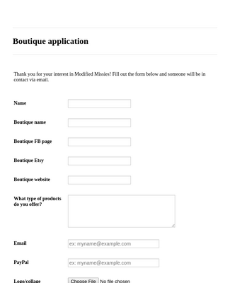 Boutique application