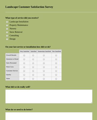 Landscape Customer Satisfaction Survey