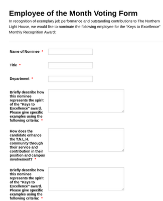 Employee of the Month Voting Form