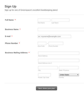 Business Signup Form