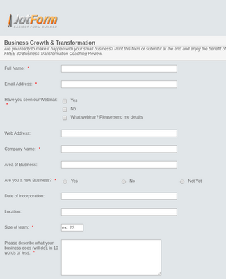 Business Online Questionnaire