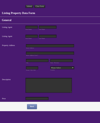 Property Listing Form