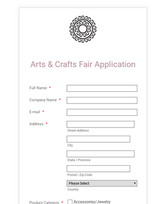 Arts and Crafts Fair Application Form