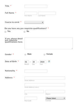 Enrolment Form - PTQ