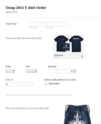 Troop 2014 T shirt Order - New