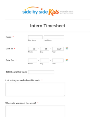 Summer Intern Timesheet