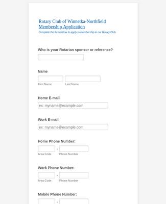Rotary Club Membership Application Form
