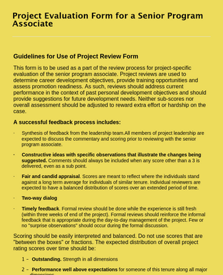 Senior Program Associate Project Review Form