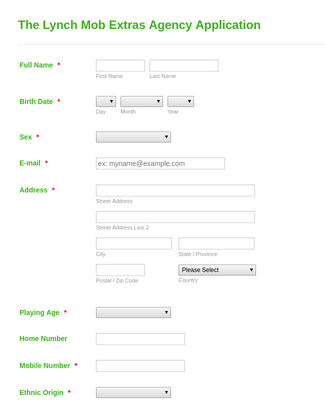Model Agency Application Form