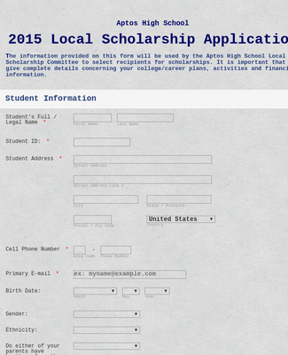 2015 Local Scholarship Application