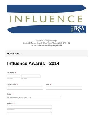 Award Entry Form