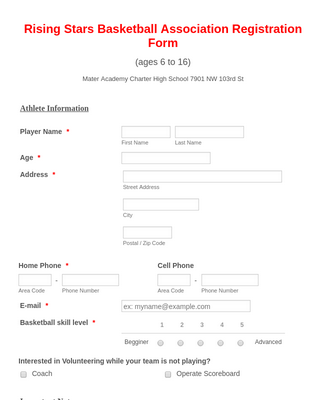 Basketball League Registration Form  2
