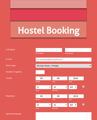 Hostel Booking Form - Light Coral and Responsive