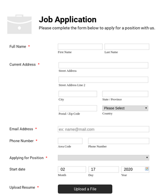 Simple Job Application Form   White And Responsive