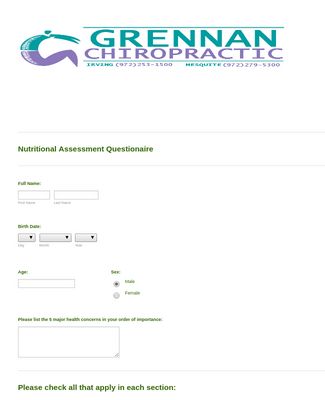 Nutritional Assessment Questionnaire Form