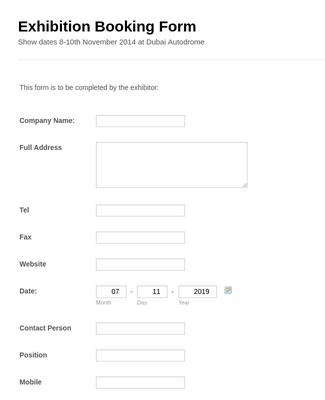 Exhibition booking Form