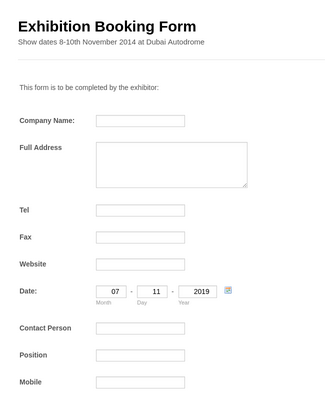 Exhibition booking Form