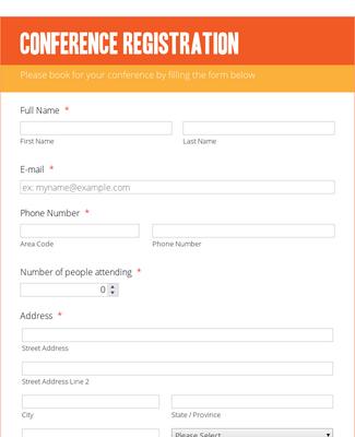 Conference Registration Form - Orange Theme