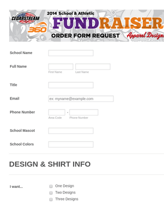 2014 School Fundraiser Order Form Request